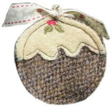 harris tweed pudding brown tree decoration or brooch
