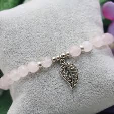 lucky leaf bracelet images 6mm natural stone pink crystal beads chalcedony bracelet hand jpg