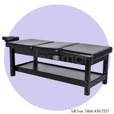 salonsmart adjustable wood shelf massage bed black