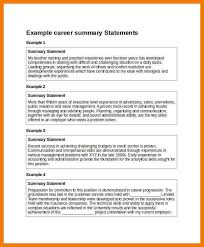 Summary Statement For Resume Examples Of Resume Summary Statement Great Career Summary Resume
