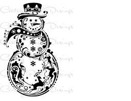 snowman with santa u0026 reindeer svg jpeg png pdf silhouette