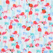 white with colorful pineapple palm tree flamingo fabric by