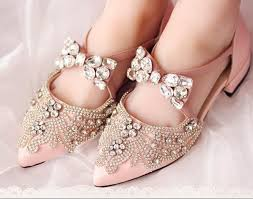 wedding shoes rhinestones pink rhinestone pearl wedding shoes 2cm low heel pointed toe