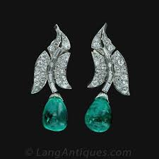 original diamond drop original deco emerald and diamond drop earrings