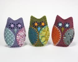 felt owl ornaments handmade felt owls in vintage retro colors