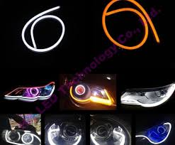 led strip lights headlights 2pcs 60cm drl flexible led tube white amber daytime running