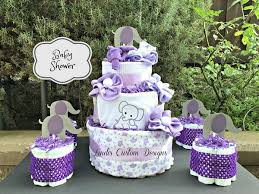 elephant baby shower centerpieces elephant cake purple gray baby shower centerpiece gift set