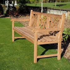 cross back teak garden bench 180cm