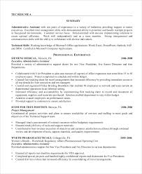 Resume Template Executive Assistant Sample Administrative Assistant Resume 8 Examples In Word Pdf