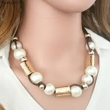 large pearl necklace images New fashion european large big pearl necklace black rope chain jpg