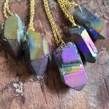 stone charm necklace images Rainbow titanium quartz crystal necklace charm necklace jpg