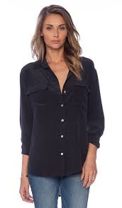 equipment signature blouse equipment signature blouse in true black revolve