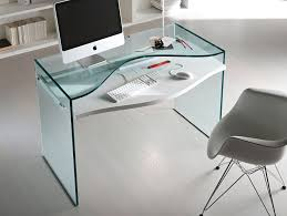 office tonelli strata glass desk with imac on it and chair