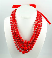 beaded red necklace images Polish art center polish dance costume five string red beaded jpg