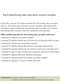 Senior Sales Executive Resume Download Top8advertisingsalesexecutiveresumesamples 150512170401 Lva1 App6891 Thumbnail 4 Jpg Cb U003d1431450298