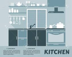 flat kitchen interior design with shelves cupboards oven