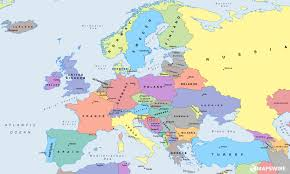 europe map in political europe map with countries and capitals at of europw