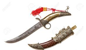 ornate ceremonial curved dagger and decorative scabbard stock photo