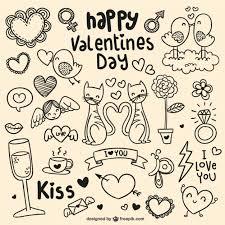 happy valentine u0027s day doodles vector free download