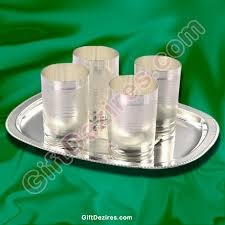 silver items silver gift items set of 4 glasses with tray gd 102244