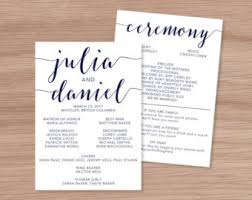 sided wedding programs wedding programs etsy