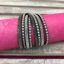 rhinestone leather wrap bracelet images Grey leather wrap bracelet with rhinestones it 39 s a bling thing jpg