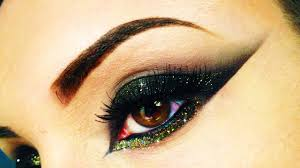 black u0026 gold cat eye with glitter make up using makeupgeek