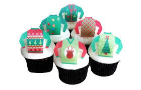 ugly christmas sweater cake decorations 12 edible cupcake