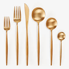 moon by cutipol brushed gold flatware collection
