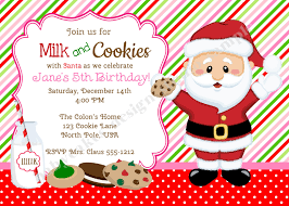 milk and cookies invitation invite cookies with santa holiday