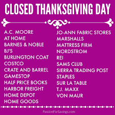 stores closed on thanksgiving day 2015