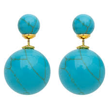 turquoise earrings studs sided earrings front back two sided earring