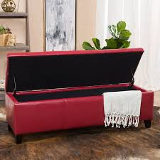 amazon com skyler red leather storage ottoman bench kitchen u0026 dining