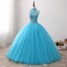 aqua quinceanera dresses 2017 aqua blue gown quinceanera dresses high neck sleeveless