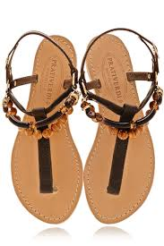 prativerdi alessia beaded t bar brown leather women sandals u2013 pret