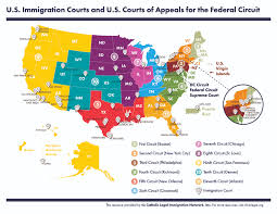 federal circuit court map u s immigration courts and districts clinic