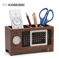 juh a natural wooden desk storage box simple design diy calendar function pen holder collection case