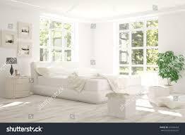 white bedroom green landscape window scandinavian stock