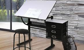 bureau de dessin bureau table à dessin rangements tabouret groupon shopping