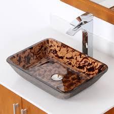elite 1409 rectangle artistic bronze tempered glass bathroom