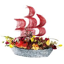 ship flowers decoration flowers ship with crimson sails stock image image of