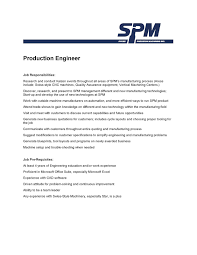 sample manufacturing production engineer job description