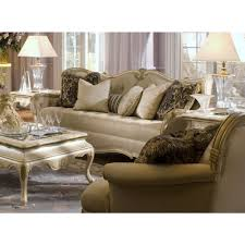 Michael Amini Furniture Michael Amini Lavelle Blanc Wood Trim Tufted Sofa By Aico For