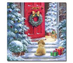 puppy at red door christmas cards