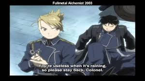 colonel mustang roy mustang in rainy days both versions