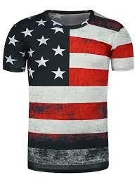 Ripped American Flag T Shirts Black M Round Neck Distressed American Flag Print T