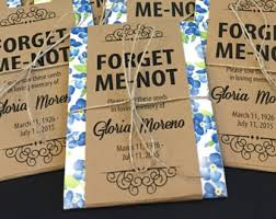 memorial ideas personalized memorial forget me not seed packets with blue floral