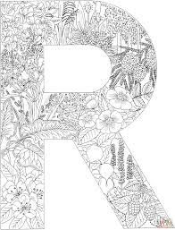 letter r with plants coloring page free printable coloring pages