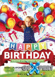 free kids happy birthday premium flyer template facebook cover