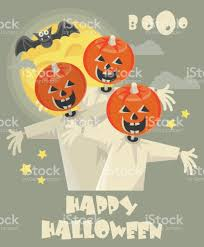 happy halloween vector greeting card with jacholantern stock